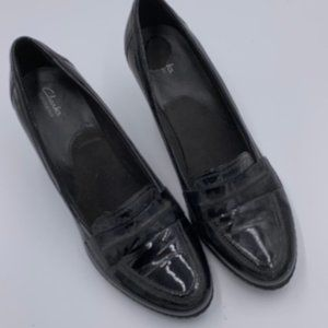 Clarks Black Patent Leather Loafer Look Heels